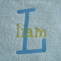 embroidered boys name on brown baby blanket