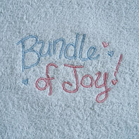 embroidered baby blanket with words bundle of joy