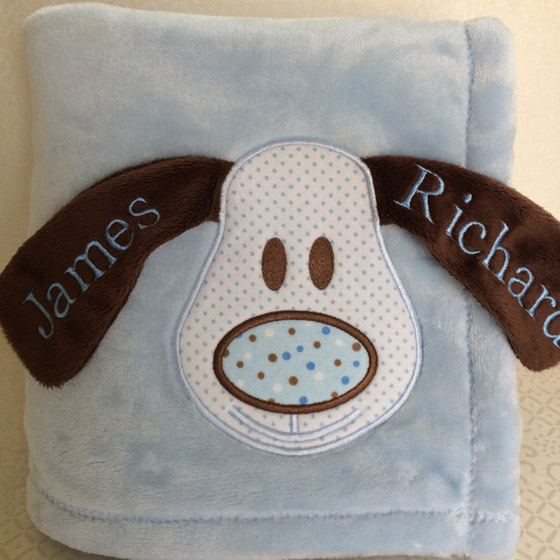 embroidered baby blanket doggie ears