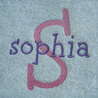 embroidered girls name on baby blanket with white trim