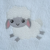 embroidered lamb on baby blanket