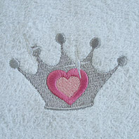 embroidered princess crown on baby blanket