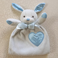 embroidered security blanket animal lovie bunny blue