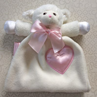 embroidered security blanket animal lovie lamb pink