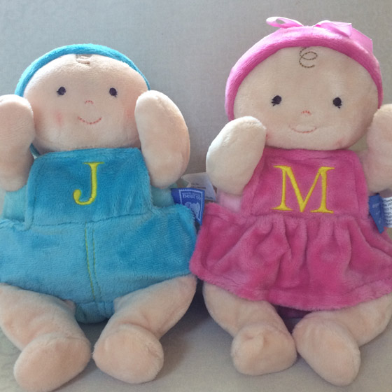 embroidered security friend rosy cheeks baby boy and girl