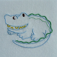 Embroidered Pillow Alligator