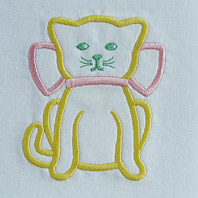 cat with bow nursery pillow