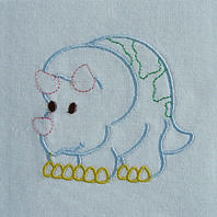 Embroidered Pillow Dino (Triceratops)