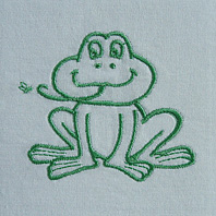 Embroidered Pillow Frog