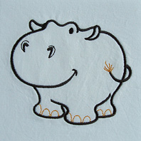 Embroidered Pillow Hippo