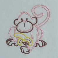 Embroidered Pillow Monkey