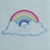 Embroidered Pillow Rainbow