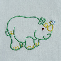 Embroidered Pillow Rhino