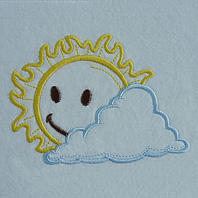 Embroidered Pillow Sun Cloud